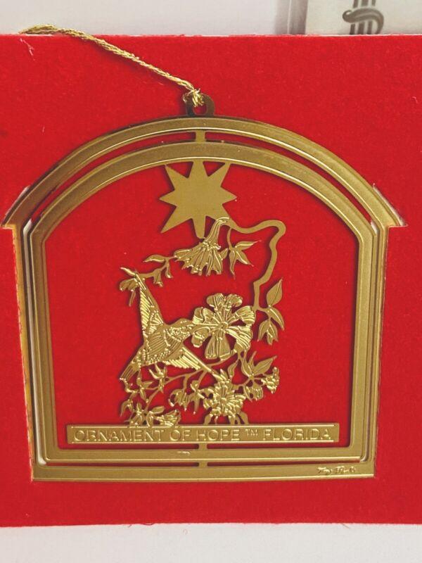 Florida Christmas Ornament of Hope 24K Gold Humming 1991 #810 Charleston Mint