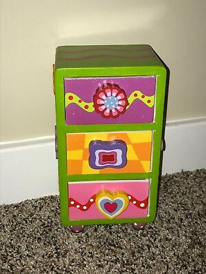 "Jewelry Box, Little Girls, 3 Drawer, Wood, Adorable! 8.5""x4.5""x3.25"" - Little Girls Jewelry Boxes"