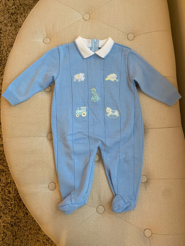 Carriage Boutiques By Friedknit Creations Blue Collared Knit Baby Outfit 6M