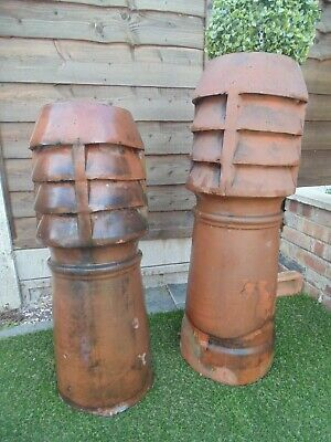 Pair of large Victorian Chimney Pots 94 and 82 cms high