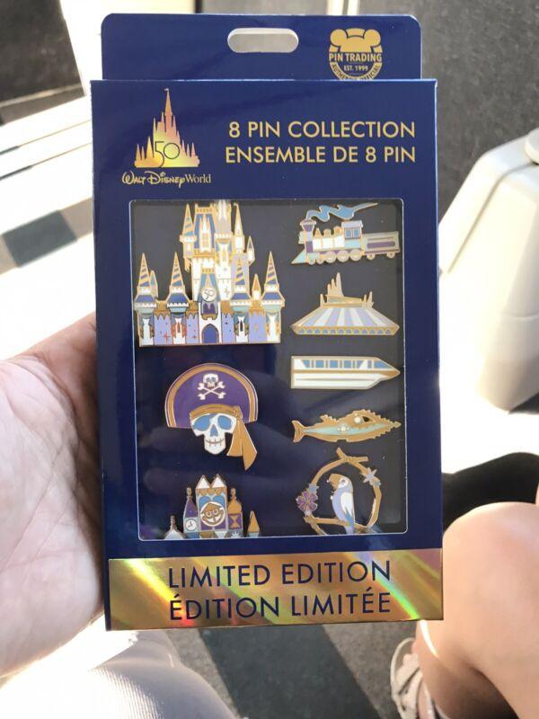 WDW 50th Anniversary Attractions 8 Pin LE 1500 Box Set Walt Disney World