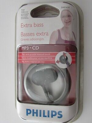 NEW!~PHILIPS EXTRA BASS~MP3~CD~TWIN VENT EAR-IN-EAR HEADPHONES~SHE2650