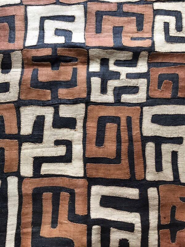"Vintage Kuba Cloth Panel of Handwoven Raffia 135"" x 24"""