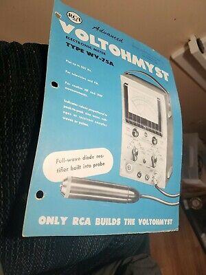 Rca Jr. Voltohmyst Model Wv-75a - Sales Brochure Only