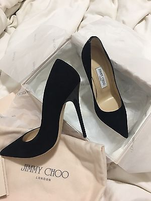 Jimmy Choo Anouk Toe Pumps High Heels Black Suede Classic SZ36/6
