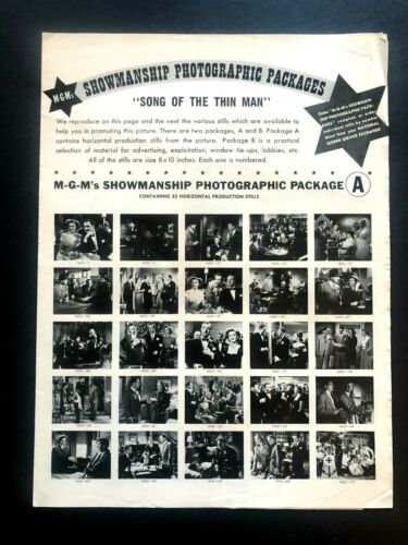 """Song of the Thin Man Movie Pressbook Insert (1947) -2 Pages - 11"""" x 15"""" EX"""