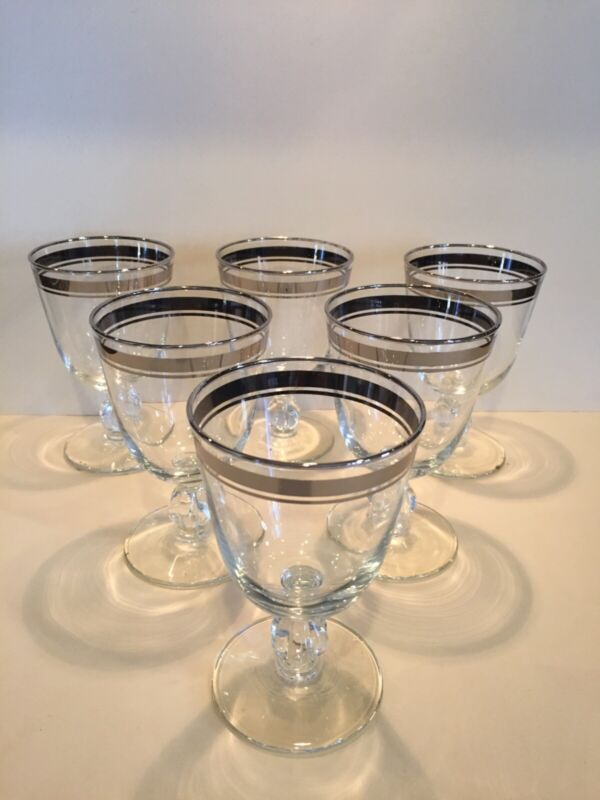 Set of Ten Vintage MCM Libbey Double Platinum Band Moonmist Wine Water Goblets