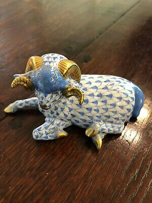 GORGEOUS Herend Blue Fishnet RAM Figurine MINT!