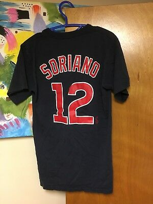 Majestic Chicago Cubs Alfonso Soriano T-shirt #12 Medium Dark Blue 100% Cotton