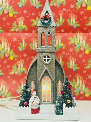 HUGE, NEW cardboard Christmas/Glitter Village/Putz Church w/REAL vintage trims!