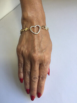 14K GOLD PLATED BRACELET WITH HEART LOCKET KEY DESIGN INLAID WITH CRYSTAL J202