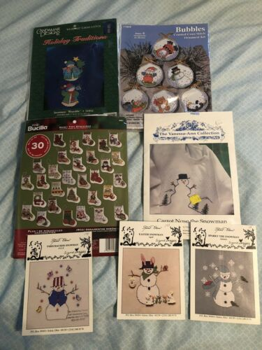 Bucilla Christmas Ornaments And Snowman Cross Stitch Kits An