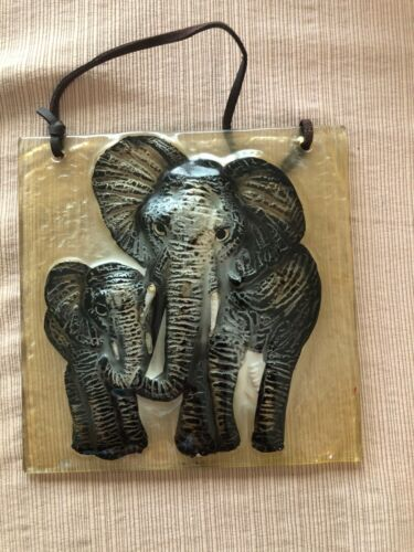 Pair of Safari Plaques / Tile Elephant and Zebra Glass Wall hangings (Lot of 2)
