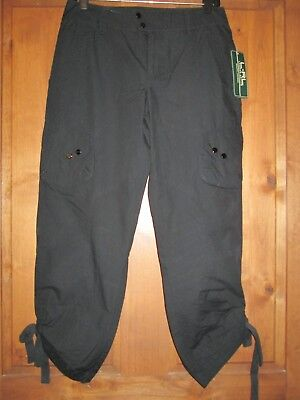 (L-RL LAUREN ACTIVE BLACK 100% COTTON WOVEN CROP/LEG TIE PANTS WOMENS SZ 4 NWT )