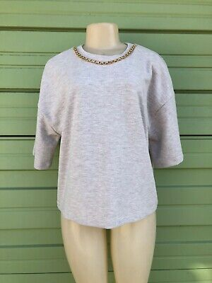 NWT ZARA  Beige Soft Touch T-shirt  WITH CHAIN Size L  5039/919  1348