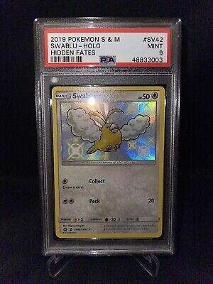 Pokemon TCG Hidden Fates Secret Rare SV42 Holo Swablu *MINT PSA 9*
