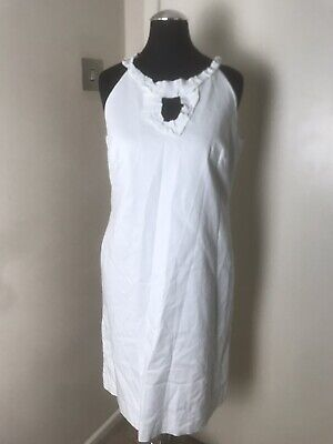 Julian Taylor White Shift Knee Length Loose Dress 12