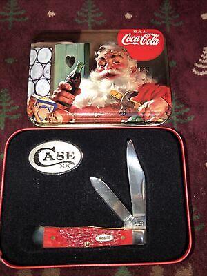 Case XX 6225 1/2 SS 2 Blade Coca Cola Santas Workshop Pocket Knife & Tin L212