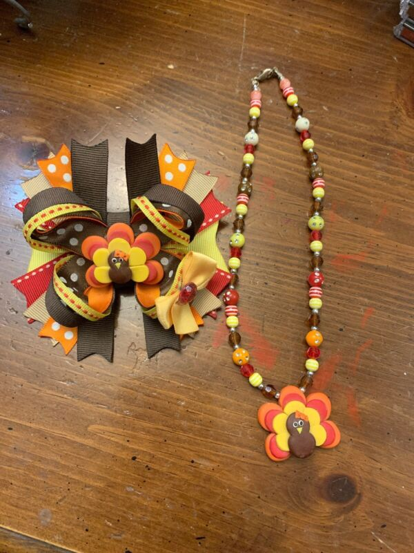 Thanksgiving Turkey Custom Made Childrens Kids Necklace Bow Hairbow Boutique