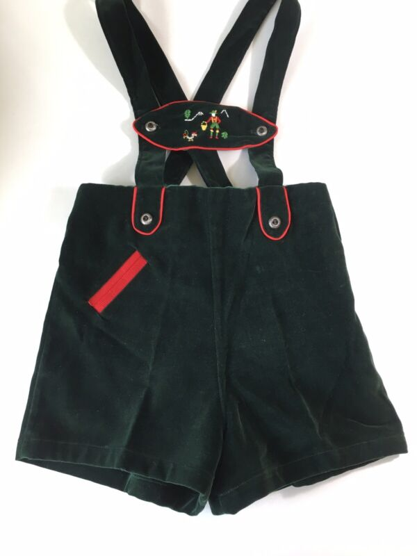"Vintage Authentic CHILDS SIZE 4 Green Velvet Swiss/German/Austrian ""LEIDERHOSEN"""