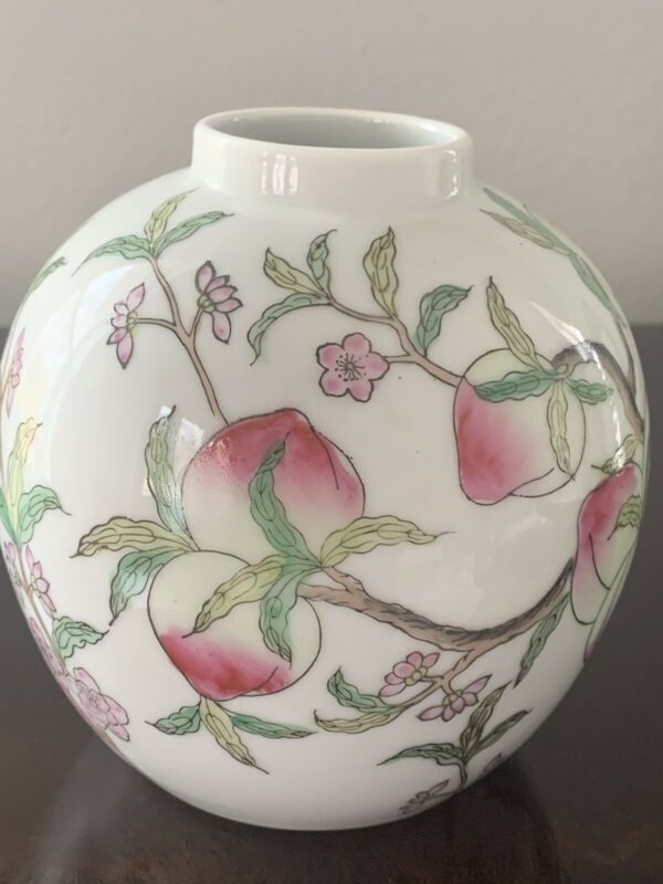 Vintage Porcelain Ginger Jar With Painted Peaches