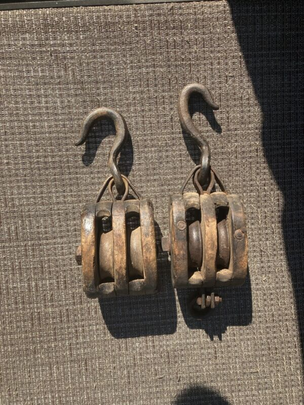 2 Antique Nautical : Farming  Wood Ship Block Tackle Double Pulley (1) Has Clasp
