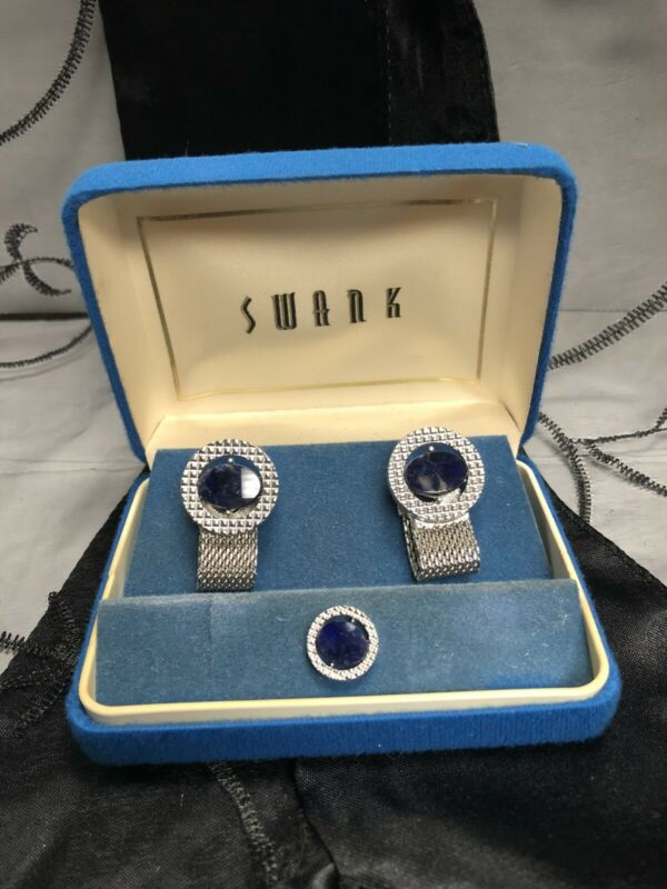 Vintage *SWANK* Silver Tone Cuff Link Tie Tack Tac Wrap-Around Set SODALITE Blue