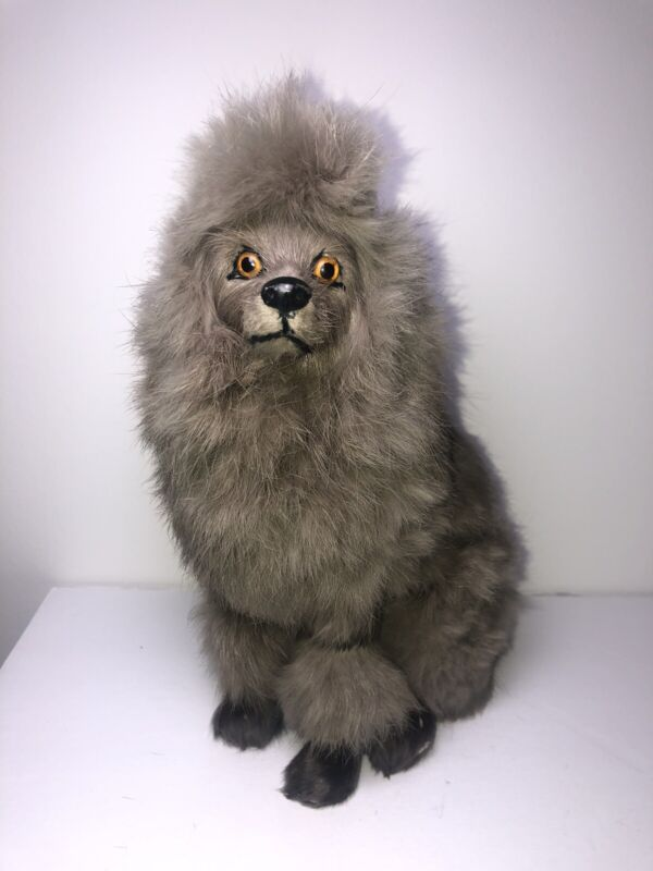 "Vintage Poodle Life like Dog Figure Real Rabbit Fur Hair 9"" Collectible Figure"