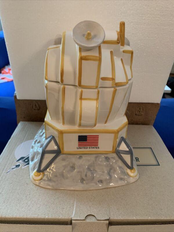 Moon Landing Cookie Jar Lunar Lander Cracker Barrel Ceramic  (NEW IN BOX)