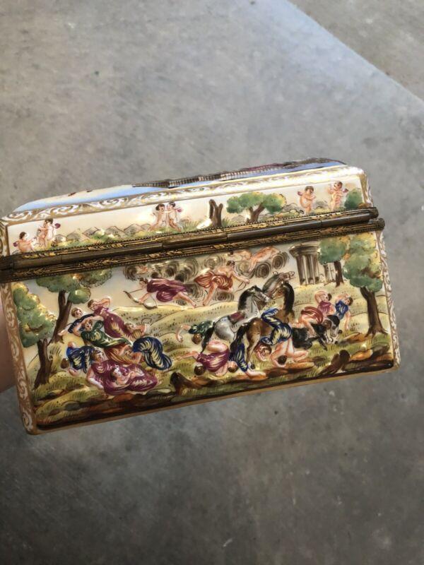 Rare Antique Capodimonte Hand Painted Box