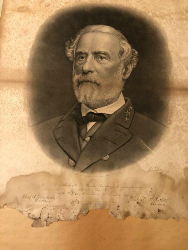 Robert E Lee print of portrait, original frame/glass from 1870's.