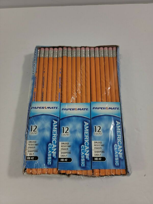 72 Papermate American Classic  Wood Yellow Pencils HB #2 Homeschool USA NIB