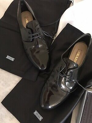 Leather Patent Leather Oxfords - Prada Women's Patent Leather Oxfords US 6.5 EU Size 36.5 Black