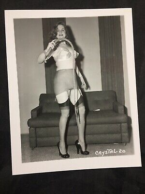 Vtg 50's Beautiful Brunette Heels Nylons Whip Risque Pinup Photo Crystal-20 Wow! Nylon Vintage Heels