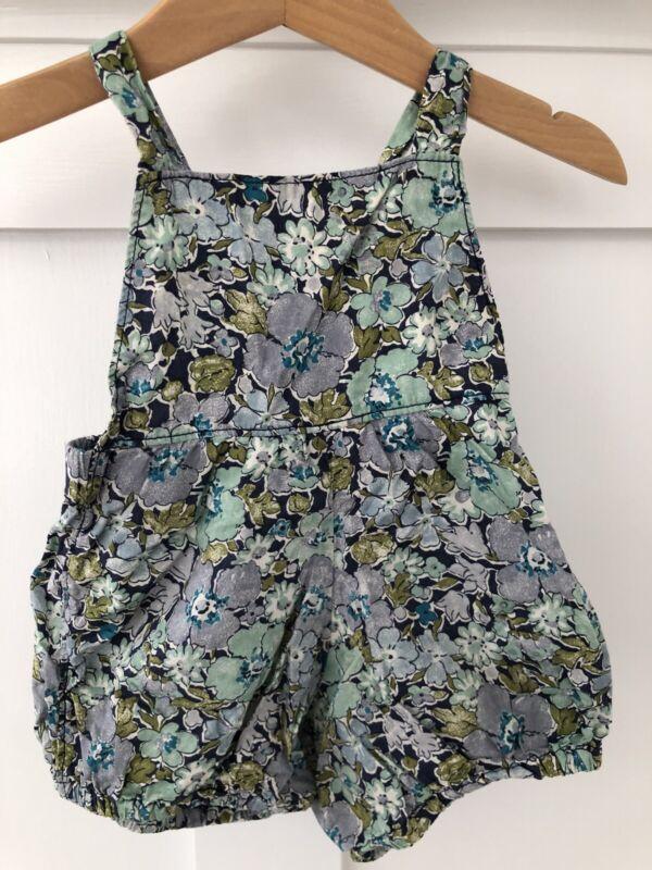 EUC! MABO Girls ROMPER Floral 100% Cotton Blue Green RARE Sz 6 Months