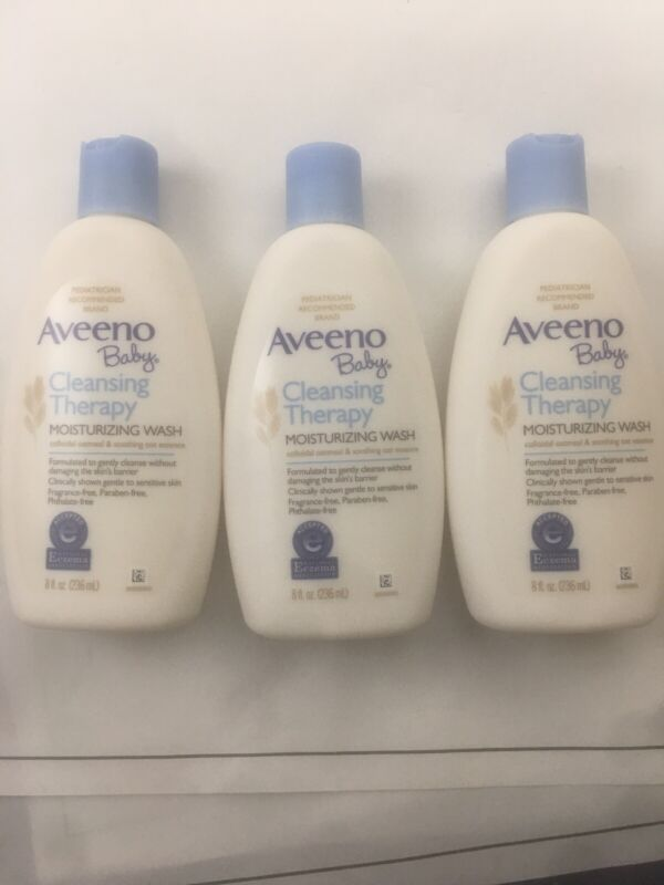 """AVEENO """"Baby"""" Cleansing Therapy Moisturizing Wash 8 Fl Oz 3-Pack"""