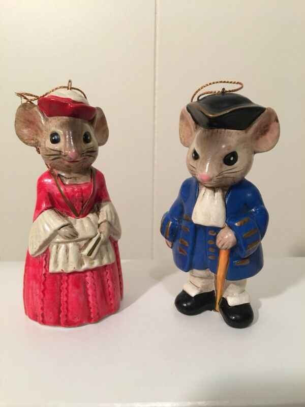 """2 Christmas Lady And Gentlemen Mice Ornaments 4"""" Tall"""