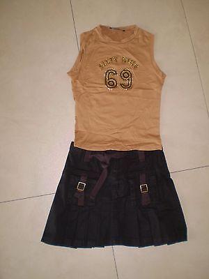 SEXY Disco Party Outfit Top camel + Rock braun XXS XS 32 34