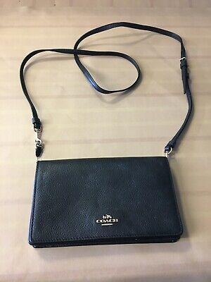 Coach New York Womens Clutch Bag Shoulder Purse Black Leather