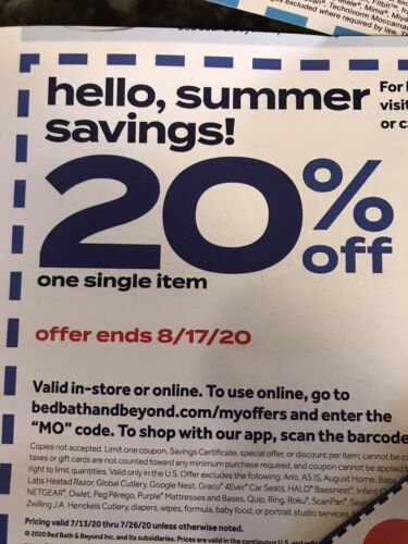5 Bed, Bath Beyond 20 Off Any Single Item Coupons - $2.99