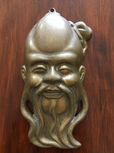 Beautiful antique bronze wall mask from Macau (Portuguese Ex-Colony in Asia)