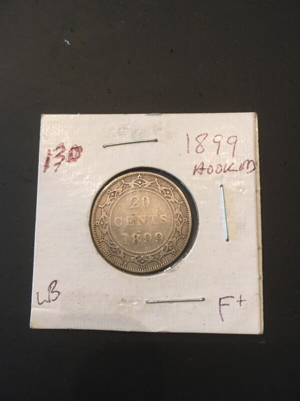 Canada Newfoundland Queen Victoria 20 Cent 1899 Hooked 9,s Scarce Fine