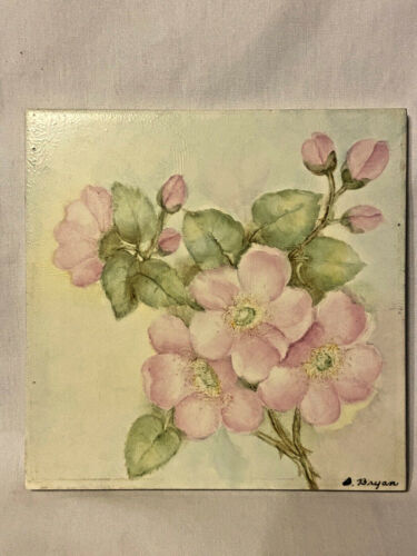 Hermosa Tile Gladding  McBean & Co Pink Flowers Green Leaves Signed