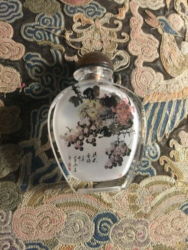 Signed Inside Painted Chinese Glass Snuff Bottle Fruit & Flowers