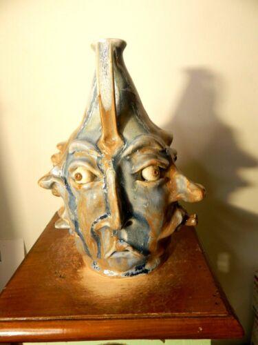 { RARE  6 nose ned  }  tim whitten face jug , potterty, folk art 10