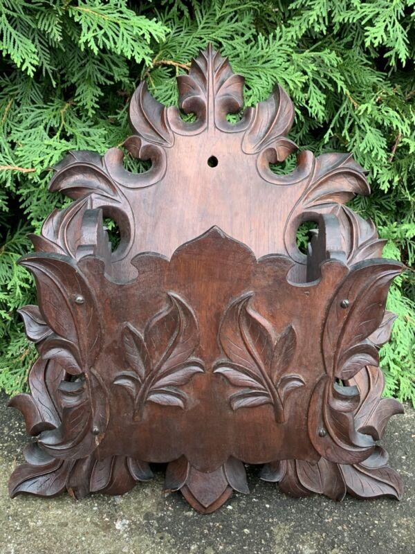 Large Antique Black Forest Carved Grape Vine & Leaf Walnut Wall Pocket Germany