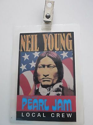 Pearl Jam laminate pass from 1993 tour Rare! Eddie Vedder not signed Neil Young