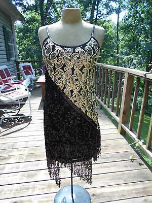 Black & Gold  Sequin Beaded Flapper Style Evening Formal Costume Dress S/M