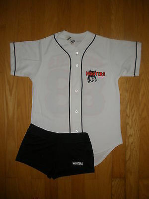 NEW SUPER SEXY HOOTERS BASEBALL JERSEY & SHORTS HALLOWEEN COSTUME SMALL & MEDIUM