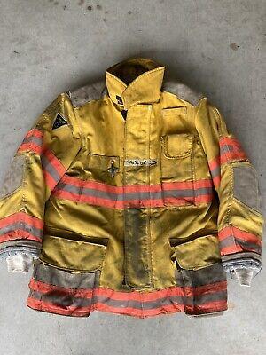 Firefighter Janesville Lion Apparel Turnout Coat 44x32 Inch 2003 Orange Trim